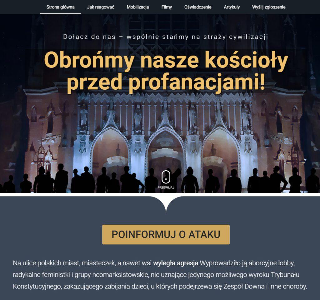widok strony obronakosciola.pl